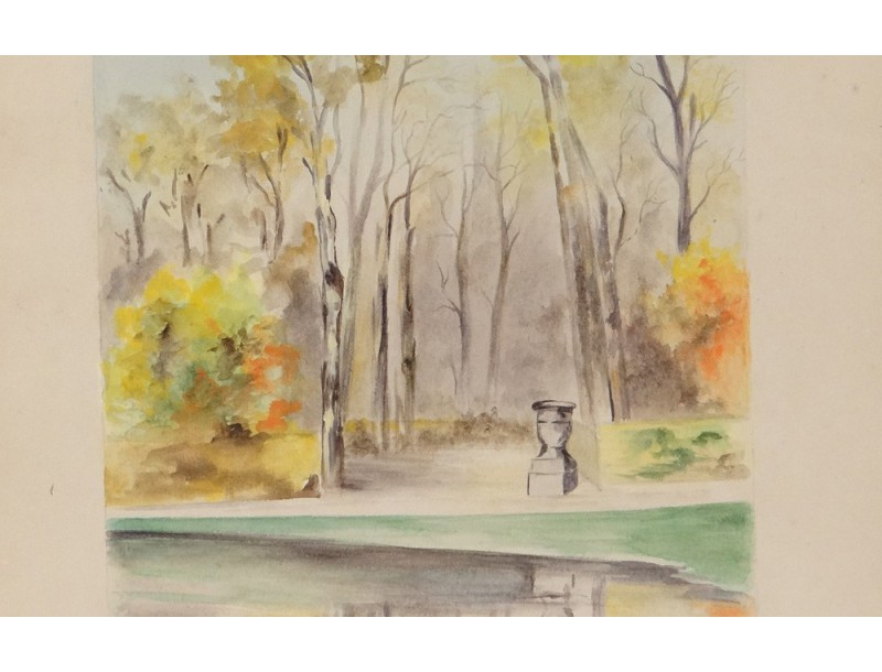 Dessin aquarell paysage parc versailles sign initial m s for Agence paysage versailles