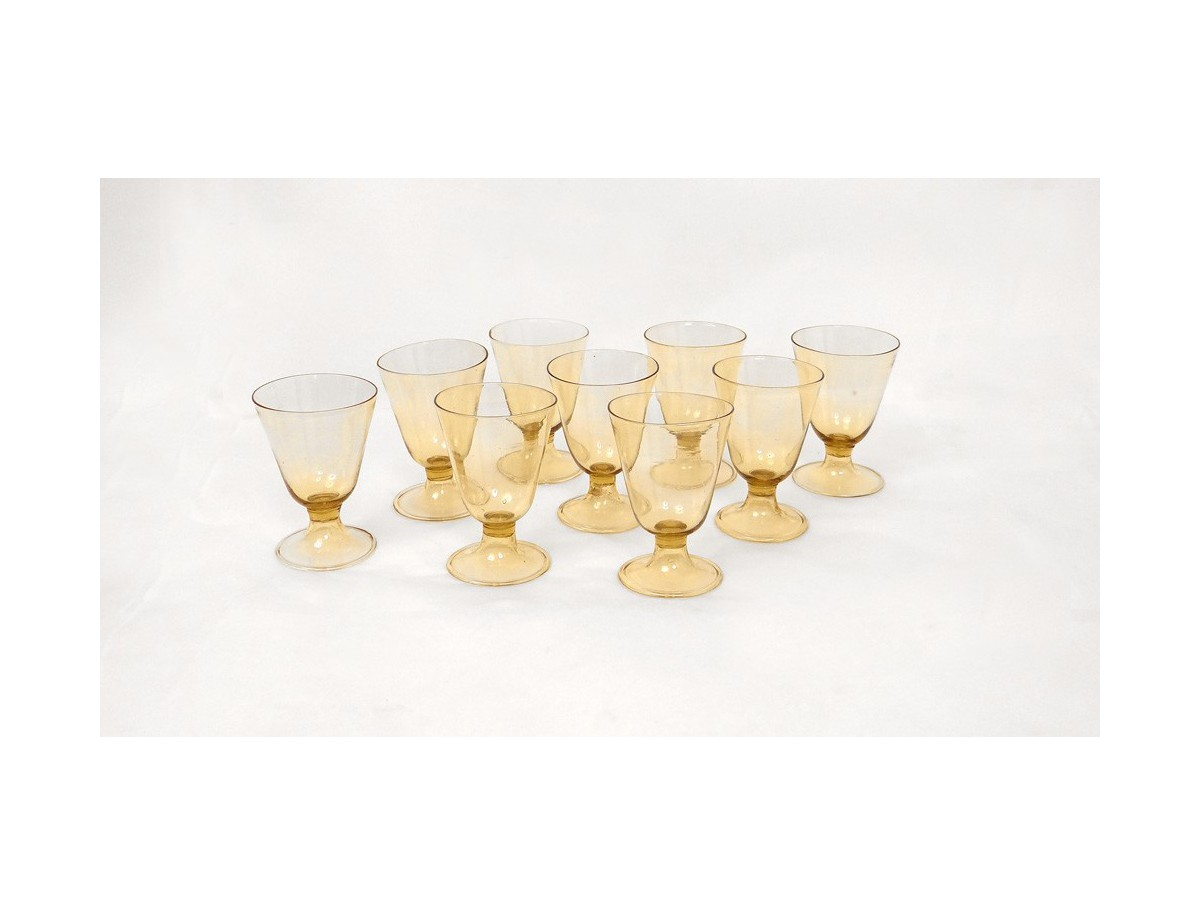 lot de 9 verres eau jauni antique french xx me si cle antiquit s du golfe. Black Bedroom Furniture Sets. Home Design Ideas