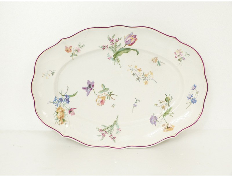 Plat porcelaine au vase etrusque paris d cor fleurs for Vase plat centre de table